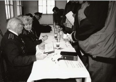 1 - Autograph session of war veterans. From left: col. Petr Uruba, pilot 311 Squadron, POW, col. Joy Kadečková – Turner, WAAF, gen. František Peřina, 312 Squadron