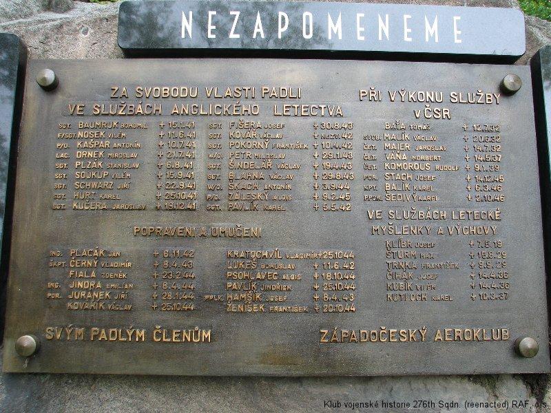 Památník členů Plzeňského aeroklubu - památník Václava Blahny, palubního střelce 311. československé bombardovací perutě RAF